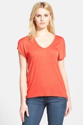 Trouve 'Easy' V Neck Tee Red