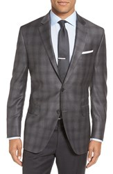 Peter Millar Men's Big And Tall 'Flynn' Classic Fit Plaid Wool Sport Coat Mid Grey