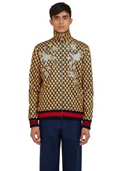 Gucci Embroidered Geometric Print Teddy Bomber Jacket Yellow
