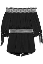 Rachel Zoe Off The Shoulder Embroidered Silk Crepe Playsuit Black