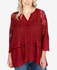 Lucky Brand Trendy Plus Size Mixed Lace Blouse Wild Currant