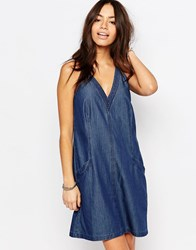 Esprit V Neck Denim Smock Dress Dark Blue Navy