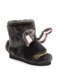 Kate Spade Bethie Faux Fur Bunny Slippers Grey