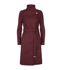 Ted Baker Aurore Funnel Neck Wrap Coat Female Burgundy