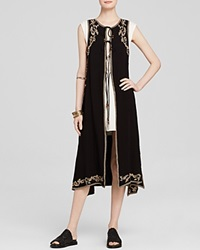 Free People Vest Embroidered Maxi Black Combo