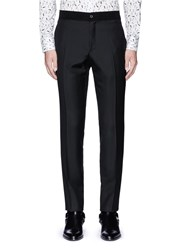 Lanvin Slim Fit Stripe Jacquard Wool Pants Black