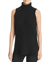 Bloomingdale's C By Cable Knit Sleeveless Cashmere Sweater Black