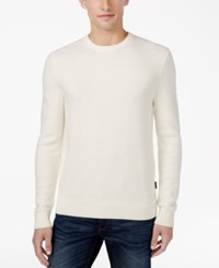 Michael Kors Men's Waffle Knit Crew Neck Sweater Ivory