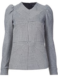 Derek Lam Contrast Panel Patterned Blouse Black