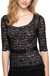 Alex Evenings Women's Scoop Neck Lace Blouse