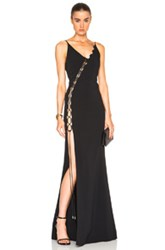 David Koma Laced Panel Gown In Black