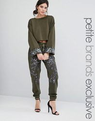 Starry Eyed Petite Heavily Embellished Paisley Detail Joggers Khaki Green