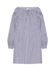 Maison Rabih Kayrouz Striped Cotton Poplin Off The Shoulder Dress Navy White