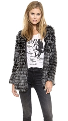 Glamorous Fringed Coat Black White