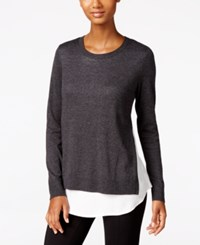 G.H. Bass And Co. Button Back Layered Look Sweater Heather Charcoal Combo