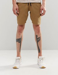 Asos Jersey Shorts In Super Skinny Fit In Tan Ermine Green