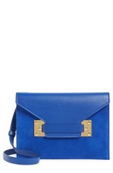 Sophie Hulme 'Milna' Suede And Leather Envelope Clutch Blue Klein Blue Gold