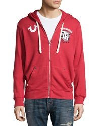 True Religion Hooded Logo Trim Zip Front Sweatshirt Red