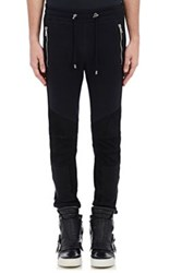 Balmain Men's Leather Trimmed Jogger Pants Black