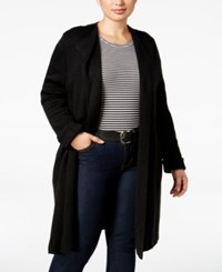 Ny Collection Plus Size Jacquard Knit Sweater Jacket Black
