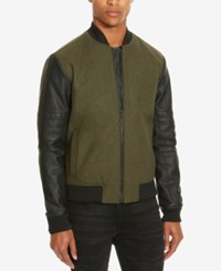 Kenneth Cole Reaction Men's Mixed Media Bomber Jacket Caper Combo