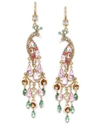 Betsey Johnson Gold Tone Peacock Crystal Chandelier Earrings Multi