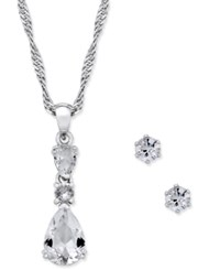 Charter Club Silver Tone Teardrop Crystal Pendant Necklace And Stud Earrings Set Only At Macy's