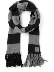 Golden Goose Deluxe Brand Striped Scarf Black