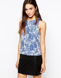 Glamorous Sleeveless Top In Jacquard Bluejaq