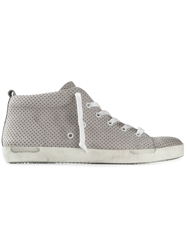 Leather Crown Perforated Lace Up Sneakers Grey