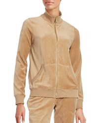 Michael Michael Kors Petite Velour Zip Front Jacket Brown
