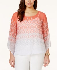Alfani Plus Size Butterfly Sleeve Printed Chiffon Blouse Only At Macy's