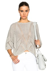 Helmut Lang Fractured Lace Short Sleeve Sweater In Gray