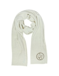 Armani Jeans Crystals Wool Blend Long Scarf Beige