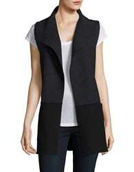 Eileen Fisher Petite Colourblock Wool Vest Black