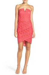 Adelyn Rae Women's Strapless Lace Dress Rose Pink