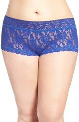 Hanky Panky Plus Size Women's Stretch Lace Boyshorts Midnight Blue