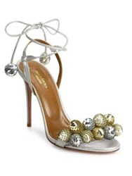 Aquazzura Disco Thing 105 Metallic Leather And Paillette Sandals Silver