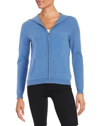 Lord And Taylor Hooded Zip Up Cashmere Sweater Arctic Heather