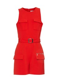 Thierry Mugler Mid Weight Crepe Playsuit Red