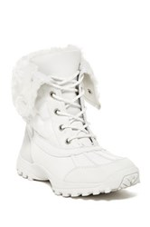 Madden Girl Brindlee Faux Fur Cuff Lace Up Boot White
