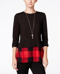 Maison Jules Layered Look Top Only At Macy's Deep Black