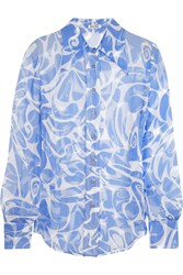 Miu Miu Printed Crinkled Silk Chiffon Shirt Blue