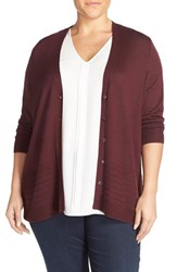 Sejour Plus Size Women's Mix Stitch Merino Blend V Neck Cardigan Burgundy Stem