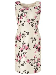 Jacques Vert Petite All Over Floral Dress Cream Pink