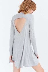 Silence And Noise Long Sleeve Cutout Back T Shirt Dress Grey