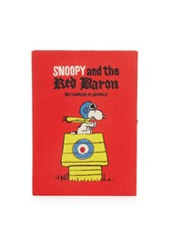 Olympia Le Tan Snoopy And The Red Baron Book Clutch Red Multi