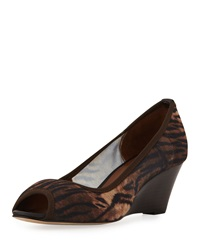 Donald J Pliner Molly Animal Print Stretch Wedge Natural