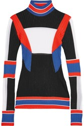 Emilio Pucci Color Block Ribbed Knit Sweater Black