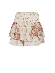 Morgan Tiered Patterned Miniskirt Off White